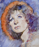 Graphite  Drawings Paintings - Watercolor of Barbra Streisand SUPER HIGH RES  by Mark Montana