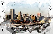 City Photography Digital Art Prints - Watercolor of Downtown Portland Print by Cathie Tyler