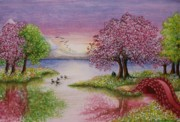 Sky Lovers Art Prints - Watercolor Painting of Romantic Lake Scene Print by Evelyn Sichrovsky