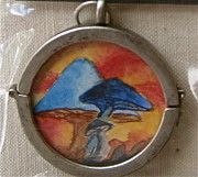 Psychedelic Jewelry - Watercolor Pendant Passion and Three Blue Mushrooms side 2 by Beverley Harper Tinsley
