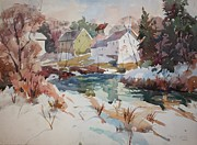 Millbury Painting Prints - Watercolor Print by Peter Spataro