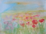 Poppies Artwork Paintings - Watercolor Poppies by Julie Lueders