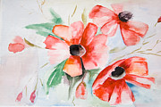 Spot Painting Framed Prints - Watercolor Poppy flower  Framed Print by Regina Jershova