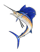 Sailfish Mixed Media - Watercolor Sailfish by Carol Lynne