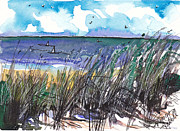 Sand Dunes Paintings - Watercolor Seashore by Michele Hollister - for Nancy Asbell