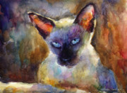 Contemporary Drawings Originals - Watercolor siamese cat painting by Svetlana Novikova