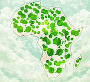 Africa Map Digital Art - Watercolor Splashes Green Africa  by Georgeta  Blanaru
