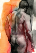 Male Nude Posters - Watercolor study 5 Poster by Chris  Lopez
