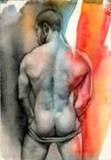 Nude Male Art Framed Prints - Watercolor study 6 Framed Print by Chris  Lopez