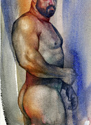 Gay Bear Framed Prints - Watercolor Study 9 Framed Print by Chris  Lopez