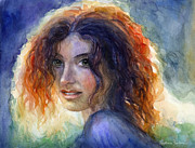 Russian Girl Posters - Watercolor Sunlit Woman Portrait 2 Poster by Svetlana Novikova