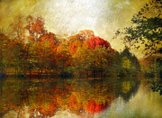 Autumn Landscape Art - Watercolor Sunset by Jessica Jenney