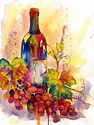 Green Burgandy Posters - Watercolor Wine Poster by Peggy Wilson