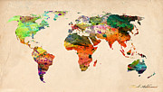 Typography Map Digital Art - Watercolor World Map  by Mark Ashkenazi