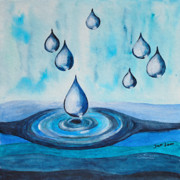 Puddle Painting Prints - Waterdrops Print by Jutta Maria Pusl