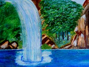 Color Image Paintings - Waterfall 4 by Suzanne Thomas