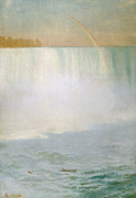 Waterfall Painting Posters - Waterfall and Rainbow at Niagara Falls Poster by Albert Bierstadt