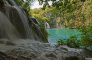 Plitvice Lakes National Park Posters - Waterfall At Plitvice National Park In Poster by Axiom Photographic