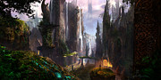  Environment Posters - Waterfall Celtic Ruins Poster by Alex Ruiz