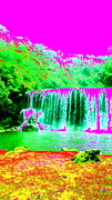 Trippy Digital Art - Waterfall Dream by Erika Swartzkopf