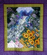 Mountains Tapestries - Textiles Posters - Waterfall Garden Quilt Poster by Sarah Hornsby