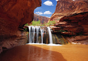 Grand Staircase Escalante Posters - Waterfall in Coyote Gulch Utah Poster by Utah Images