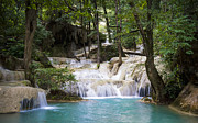 Natural Pool Prints - Waterfall In Deep Forest Print by Setsiri Silapasuwanchai