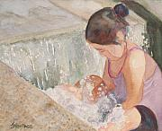Playing Painting Originals - Waterfall in Her Lap by Jenny Armitage