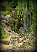 Forest Photographs Posters - Waterfall in Japanese Garden - III Poster by Tam Graff