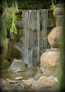 Forest Photographs Prints - Waterfall in Japanese Garden - IV Print by Tam Graff