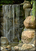 Forest Photographs Posters - Waterfall in Japaneses Garden Poster by Tam Graff