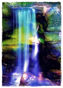 Morning Mist Images Framed Prints - Waterfall in Sunlight Framed Print by Judi Bagwell