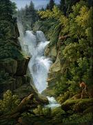Waterfall Painting Posters - Waterfall in the Bern Highlands Poster by Joseph Anton Koch