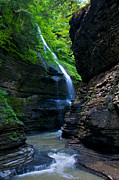 Finger Lakes Photo Metal Prints - Waterfall in the Gorge Metal Print by Mike Horvath