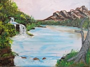 Waterfalls Paintings - Waterfall in the mountains by Robert  Sligh