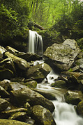 Boulders Framed Prints - Waterfall in the Spring Framed Print by Andrew Soundarajan