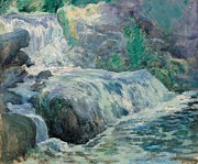 Rushing Water Paintings - Waterfall by John Henry Twachman