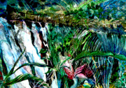 Orchids Digital Art - Waterfall Jungle by Mindy Newman