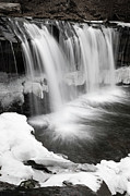 White River Scene Photos - Waterfall Mid Winter Thaw by John Stephens
