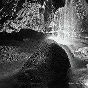 Tunnels Posters - Waterfall of the Caverns Black and White Poster by DigiArt Diaries by Vicky Browning