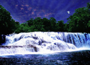 Waterfall Painting Waterfall Prints On Canvas - Agua Azul Print by Zenisart Gallery