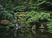 Waterfall - Portland Japanese Garden - Oregon Print by Daniel Hagerman