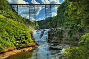 New York State Parks Posters - Waterfall Under The Bridge Poster by Adam Jewell