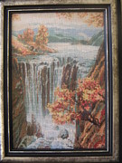 Picture Tapestries - Textiles Originals - Waterfall by Veselina Simeonova