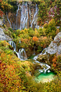 Landscape. Mountain Trees Water Bush Art - Waterfalls in Plitvice Lakes National Park by Artur Bogacki