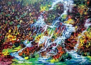 Waterfalls Paintings - Waterfalls by Johnson Moya