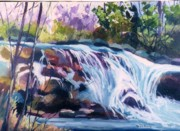 Waterfalls Paintings - Waterfalls of the Kagamangus by Sandy Sereno