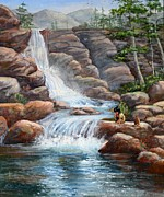 Indian Maiden Paintings - Waterfalls by Rita Lackey
