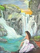 Waterfalls Paintings - Waterfalls by Rosienid Pere