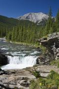 Ledge Photos - Waterfalls With Rock Ledge And Mountain by Michael Interisano